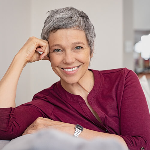 Shot of a mature woman with grey hair smiling
