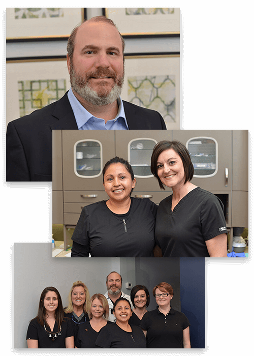 Collage picture of our Dr. Stead Willis and his team smiling
