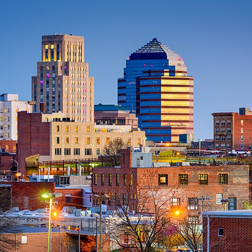 Shot of Durham NC Skyline to show that Dr. Willis is a third generational dentist in Durham, NC.